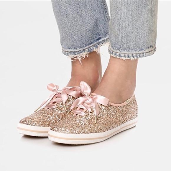Keds Rose Gold glitter Kate Spade sneaker sz 10